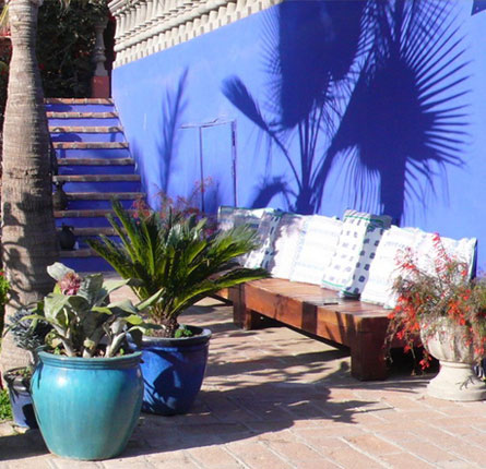 Blue Wall near Pool with Palm Shadow